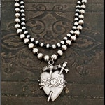 Silver Sacred Heart Necklace, Heart Sword Pendant Necklace, Ex Voto Milagro Silver Pendant, Silver Bead Necklace, Silver Ball Chain Necklace