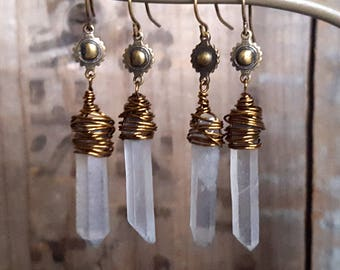 Raw Crystal Earrings, Blue Grey Stone Earrings, Raw Stone Earrings, Wire Wrapped Crystal, Raw Quartz, Bronze, Brass Boho Stone Earrings