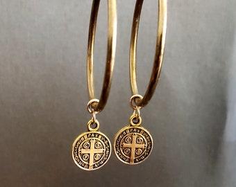 Classic Gold Hoop Earrings, Medium Hoop, Dangle Earrings, Earrings for Women, Everyday Earrings, Statement Earrings, St Benedict, Gold Cross