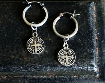 Tiny Silver Hoop Earrings, Sterling Silver Small Hoop, Dangling Hoop Earrings, St Benedict Coin Earrings, Small Hoop Tiny Hoop Earrings