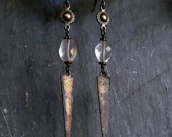 Rustic Spike Crystal Quartz Earrings, Crystal Dangle Earrings, Brass Gemstone Earrings, Edgy Jewelry, Spike Jewelry, Long Dangle Crystal
