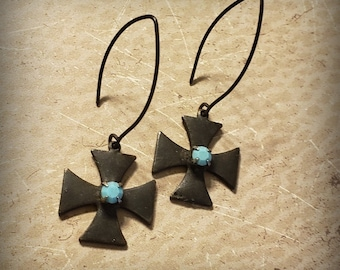 Black Maltese Cross Earrings, Black and Turquoise, Black Gothic Cross, Oxidized STERLING SILVER, Rustic Distressed Old World Jewelry