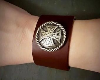 Wide Leather Cuff, Brown Leather Bracelet Cuff, Silver Maltese Cross, Silver Cross