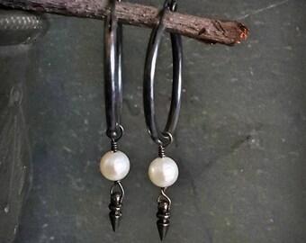 Sterling Silver Oxidized Hoop Earrings, Medium Hoop, Black and White Earrings, White Pearl Hoop Earrings, Black Hoop Spike Earrings