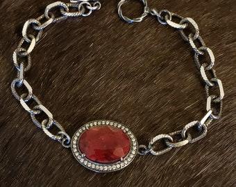 RUBY Stone Silver Bracelet, Chunky Sterling Silver Stone Chain Bracelet, Stone Bracelet, Ruby Stone Gemstone Oxidized Silver, Dark Red Stone