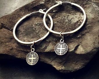 Sterling Silver Hoop St Benedict Charm Earrings, Dangle Charm Hoop Earrings, Silver Hoops, Saint Benedict Coin Earrings, Silver Cross