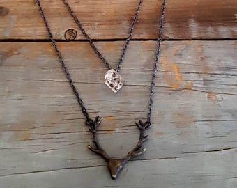 Deer Antler Necklace, Herkimer Diamond Necklace, Black Deer Head Antler, Animal Head, Black Chain, Animal Pendant, Black Chain