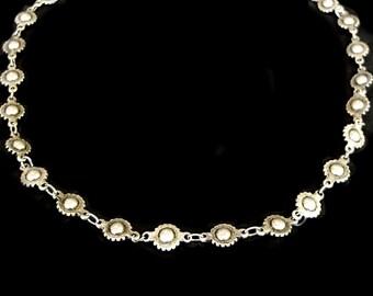 Silver Choker, Antique Silver Chain Necklace, Concho Chain, Oxidized Silver Necklace, Silver Bead Cholker, Boho Western Jewelry, Rocker
