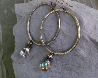 Gemstone Hoop Rustic Chic Earrings, Silver Hoops, Oxidized Silver, Rustic Jewelry, Artisan, Mystic Rainbow Smoky Quartz, Big Hoop Statement
