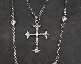 Oxidized Silver PAVE DIAMOND Cross Necklace, Medieval Cross Old World Gothic Cross Diamond Cross Sterling Silver Chain