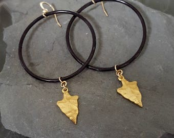 Black Gold Statement Artisan Earrings, Big Black Hoop Earrings, Gold Arrowhead Black Earrings, Oxidized Silver Gold Charm Dangle Black Hoop