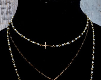 Gold Cross LOVE Necklace, Sideways Cross, BRONZE Cross, Pearl Cross Silver Bead, Tiny Bead, Bead Necklace, Pearl Chain Vintage Bridesmaid