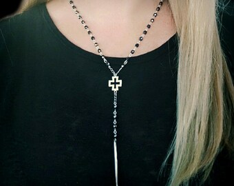 Beaded Rosary Spike Necklace, Y Bead Necklace, Rosary Bar, Long Wrap Around Cross Necklace, Spike Dagger Pendant, Edgy Feminine Jewelry