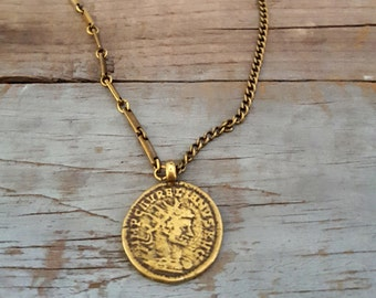 Vintage Brass Coin Chain Necklace, Gold Brass, Layering Necklace, Vintage Inspired Jewelry, Coin Jewelry