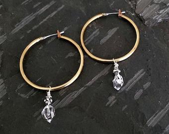 Gold Hoop Earrings, Raw Brass Hoop Earrings, HERKIMER DIAMOND Hoop Earrings, Medium Gold Hoop Brass Earrings, Stone Hoop Earrings