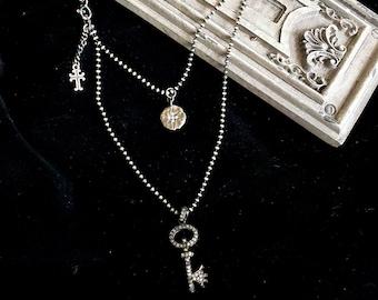 "Starburst Pendant Diamond Key Necklace, Pave Diamond Pendant, Diamond Charm, Oxidized Sterling Silver, Wrap Around Necklace 36"" Long"