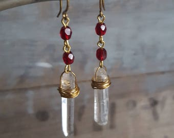 Garnet Raw Crystal Earrings, Quartz Point, Raw Quartz Crystal, Long Dangle, Raw Stone, 14k Gold Filled, Gemstone Earrings, Dark Red Stone