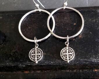 Silver St Benedict Hoop Earrings, Saint Benedict Earrings, Silver Dangle Hoop, Silver Hoops, Antique Silver, Silver Cross, Miraculous