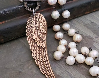 Vintage Style Angel Wing Diamond Necklace, Long Wrap Around Pearl Necklace, BRONZE Wing, PAVE DIAMOND Toggle Clasp, Double Strand Pearl