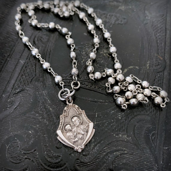 Vintage Religious Saint Christopher Medal Silver Bead Chain Necklace