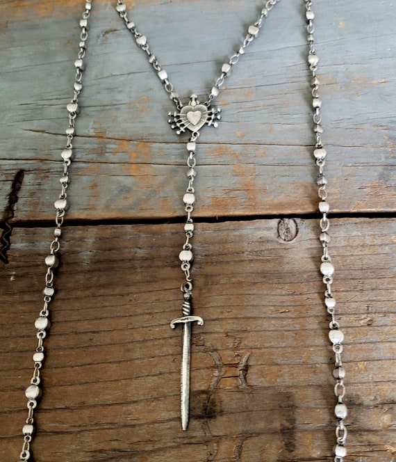 Sterling Silver SWORD Rosary Necklace, Sacred Heart Rosary Necklace, Silver Rosary Necklace, Sterling Silver Dagger Cross, Delicate Rosary