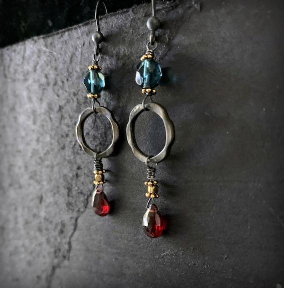 Long Dark Dangle Bohemian Garnet Teal Blue and Black Earrings