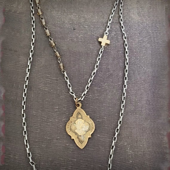 VINTAGE FRENCH MEDAL Necklace, Religious Antique French Virgin Mary Pendant, Gold Brass Vintage Pendant, Gold Cross Bead Silver Chain