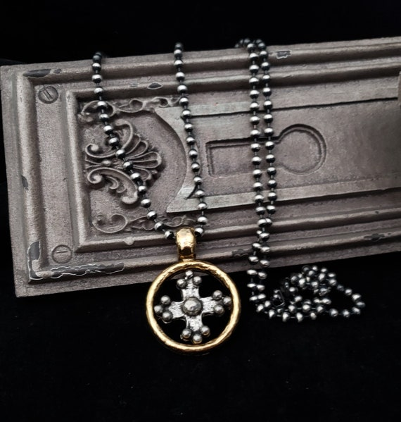 Medieval Cross Necklace, Coptic Cross, Maltese Cross, Silver Gold Pendant, Oxidized Silver, Sterling Silver, Ball Chain, Religious Jewelry