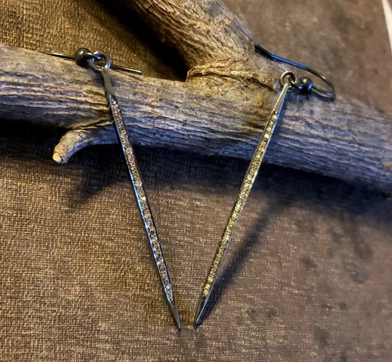 Pave Diamond Spike Earrings, Oxidized Silver, Long Pave Diamond Earrings, PAVE DIAMOND Jewelry, Bar, Spike Earrings Sterling Silver