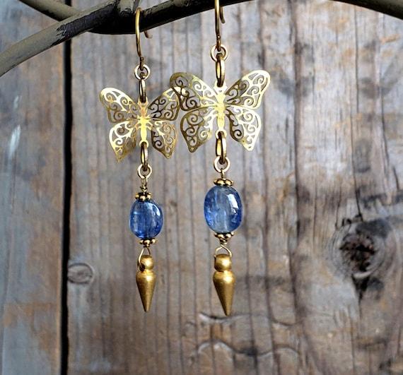 BUTTERFLY DREAMS, Butterfly Earrings, Kyanite Earrings, Blue Kyanite, Gold Spike, Gold Blue Earrings, Gold Dangle, Gemstone Earrings