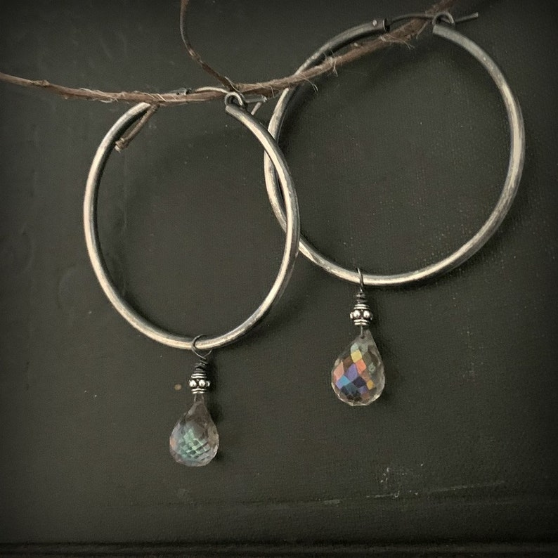 raw emereal sterling silver wire wrap hoop earrings with a raw rustic finish