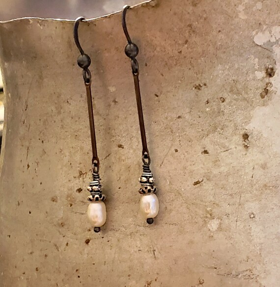 Tiny Pearl Earrings, Rustic, Mixed Metal, Long Bar Pearl Earrings, Oxidized Silver, Urban, Artisan Earrings, Artisan Jewelry, Antique Silver