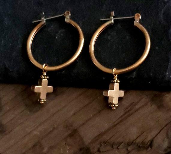 Gold Cross Hoop Earrings, Gothic Cross, Gold Brass Vintage Hoop Earrings, Dangle Cross, Cross Charm Earrings, Gold Hoop Gold Cross