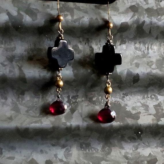 TRULY MADLY DEEPLY Earrings, Garnet Dangle, Black Onyx Cross, Garnet Earrings, Edgy, Gothic Style, Religious Jewelry, Gemstone Earrings