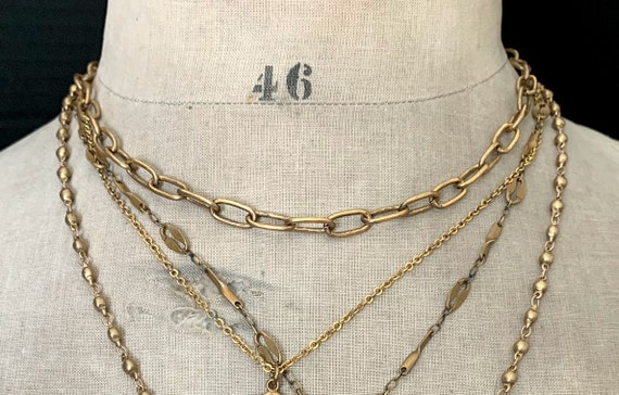 Gold Brass Oval Chain Necklace, Antique Brass, Antique Gold Chain, Simple Gold Chain, Antique Vintage Style, Brass Link Cable Chain