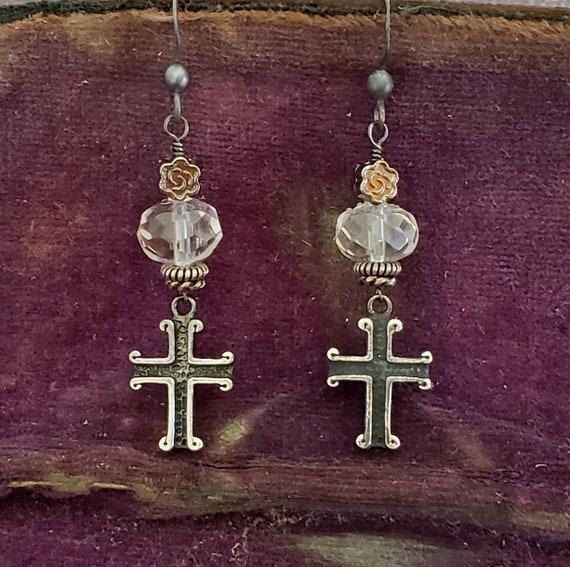 Black Cross Crystal Earrings, Medieval Cross Earrings, Old World  Style, Clear Crystal Quartz Earring, Antique Silver, Sterling Silver Cross