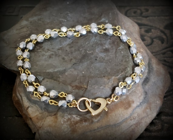 Silver Gold Beaded Bracelet, Gold Heart Clasp, Heart Bracelet, Double Strand Bead Bracelet, Sparkly Bead, Gold Filled, Gift for Her