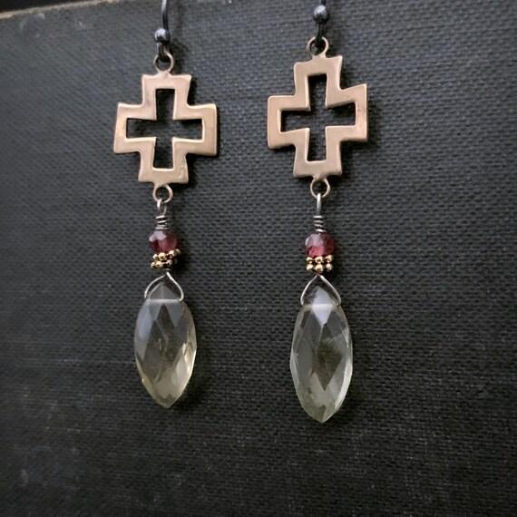 SOLID BRONZE Cross Garnet Lemon Quartz Gemstone Earrings