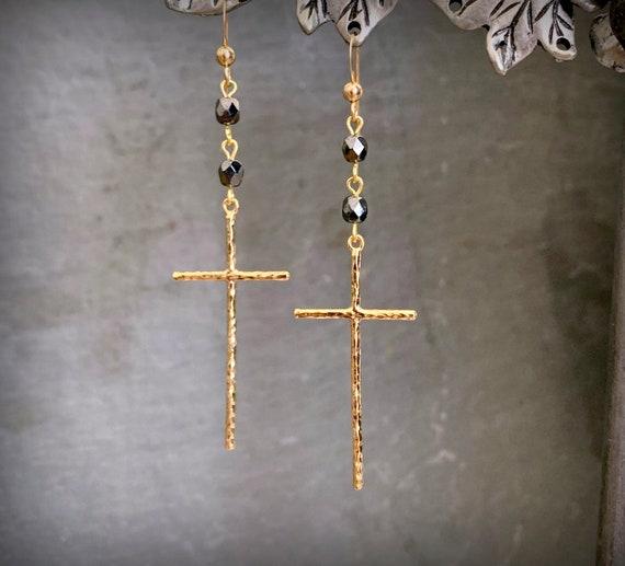 Long Gold Cross Earrings, Black and Gold Earrings, Long Statement Earrings, Big Gold Cross Earrings, Black Beaded Earrings, Big Gold Cross
