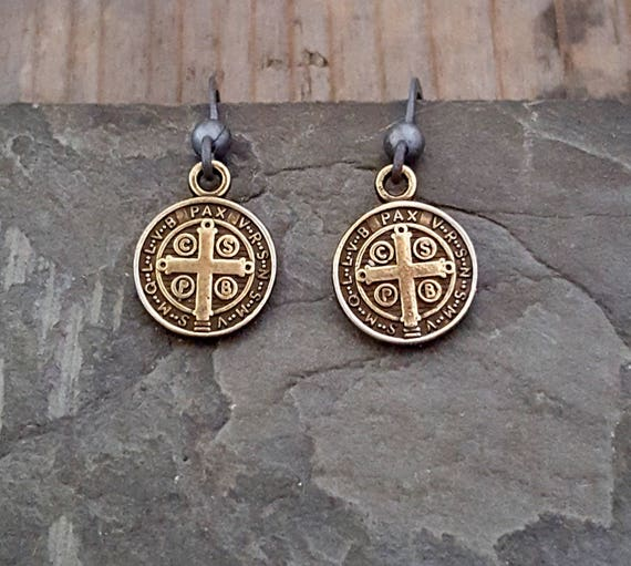 Antique Brass St Benedict Earrings, Oxidized Silver Black Bronze, Coin Dangle Earrings, Antique Cross, Saint Benedict, Religious Cross