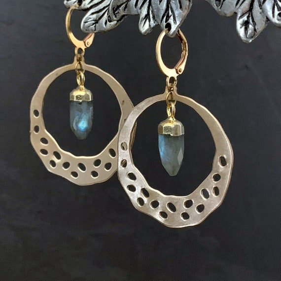 Gold Brass Circle Grey Labradorite Spike Earrings