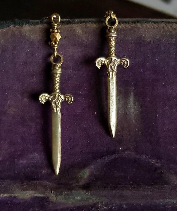 Gold Sword Earrings, Gold Dagger Earrings, Dagger Jewelry Sword Earrings, Sword Dagger Earrings, Jewelry Dagger Charms Sword Pendant