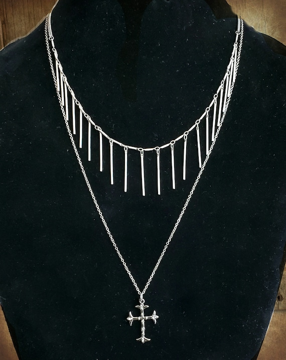 Silver Fringe Bar Chain Necklace, Silver Bar Choker Necklace, Long Bar, Long Vertical, Silver Fringe Chain, Silver Layering Necklace
