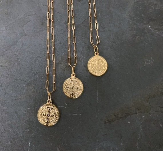 St.  Benedict Gold Coin Necklace, 14K Gold Filled Chain, Gold Rectangle Chain, Delicate Gold Chain, Gold Pendant Necklace, Saint Benedict