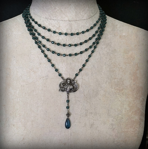 Multi Strand JOAN OF ARC Necklace, Moss Aquamarine Stone Necklace, Teal Blue Crystal Rosary Necklace, Blue Bead Rosary, Multi Layer Bead