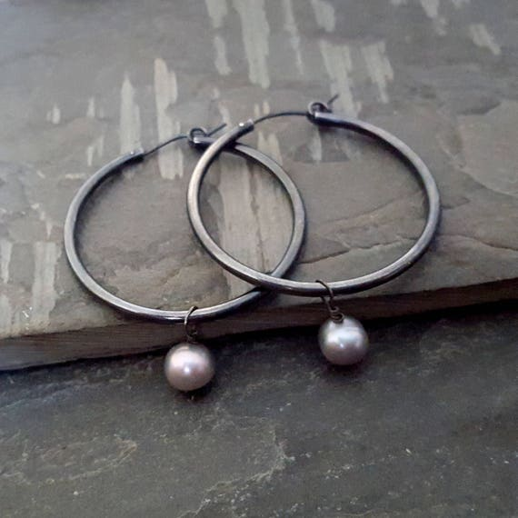 Oxidized Sterling Silver Hoop Earrings, Black Hoop Earrings, Gray Freshwater Pearl, Dangle Pearl Earrings, Large Hoop, Big Hoop, Black Grey
