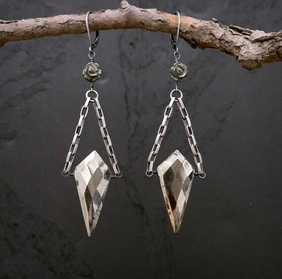 PYRITE Silver Dangle Earrings, Statement Earrings, Drop Earrings, Big Stone, Triangle Stone, Gemstone Earrings, Rustic Earrings, ViaLove