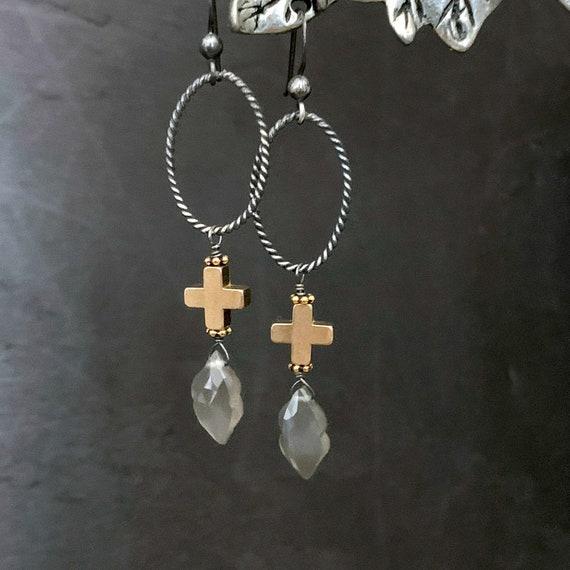 Grey Moonstone Gold Cross Silver Hoop Earrings, Gray Stone, Plus Cross, Oxidized Sterling Silver, Long Dangle Gemstone, ViaLove