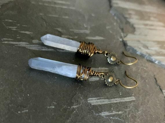 Raw Crystal Earrings, Blue Grey Stone Earrings, Raw Stone Earrings, Wire Wrapped Crystal, Raw Quartz, Bronze, Brass Boho Stone Earrings