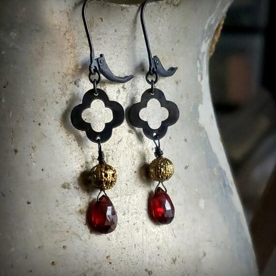 Black Clover Garnet Earrings, Oxidized STERLING SILVER and Gold Garnet Earrings, Black Gold Dark Red Earrings, Garnet Teardrop Leverback